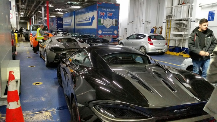 McLaren supercars on the Interislander ferry Kaitaki.