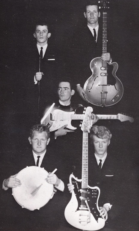 Ray Columbus & The Invaders in 1962 Top Ray Columbus, Mac Jamieson, Centre Wally Scott; Bottom Pete Ward, Dave Russell