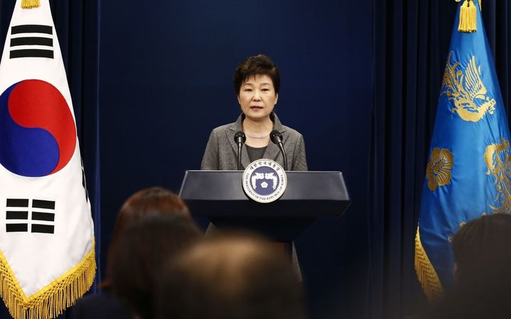 South Korea President Park Geun-hye makes an address to the nation at the presidential Blue House in Seoul.