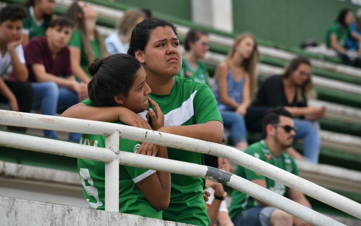 At the club's Arena Conda stadium in Chapeco, people gathered to pay tribute to the players.
