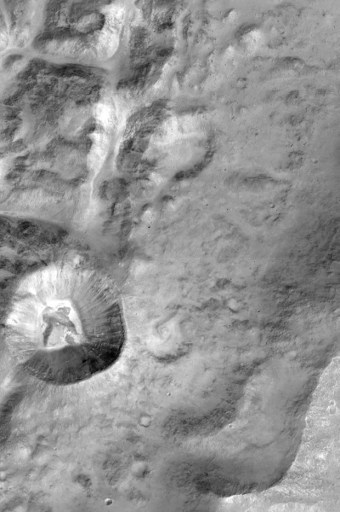 A picture released by the European Space Agency shows close-up of the rim of a large unnamed crater north of a crater named Da Vinci, situated near the Mars equator.