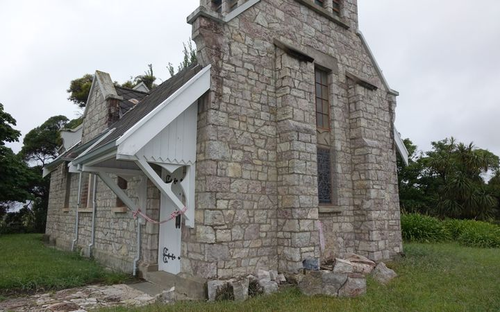 An old stone church in Ward which remains largely intact after the quake.