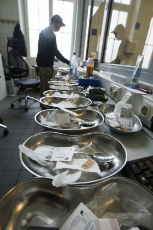 Staff at the Schielestrasse centre, the first legally sanctioned drug consumption centre in the world, preparing tools for drug consumption for clients.