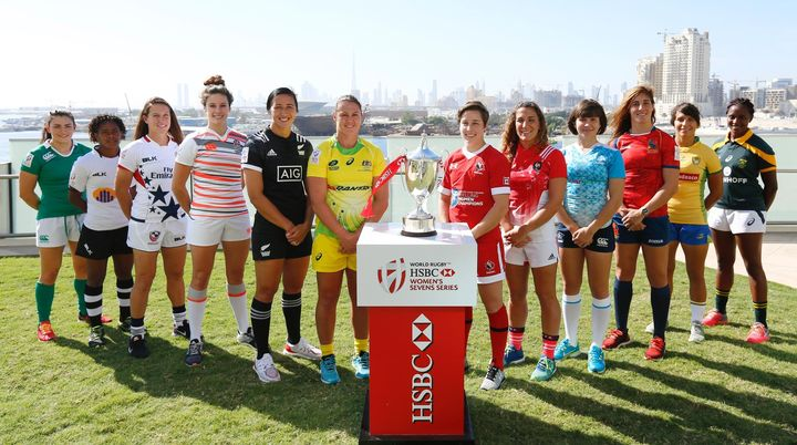 Fiji's Ana Maria Roqica lines up with the women's captains at the Dubai 7s.