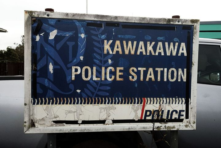 A tatty Kawakawa Police Sign