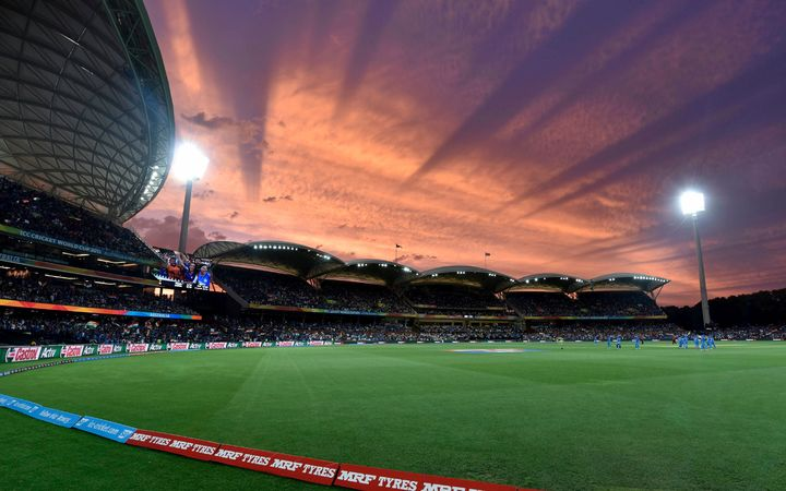 Adelaide Oval at night.