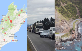Left to right: Lewis Pass, traffic on the Lewis Pass following the earthquakes, a landslip on State Highway 1 near Kaikōura