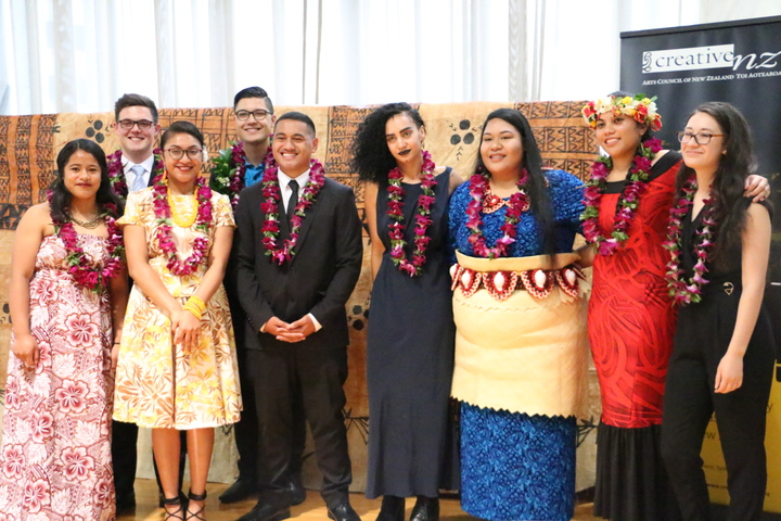 The nine recipients of the Prime Minister's Pacific Youth awards in New Zealand.