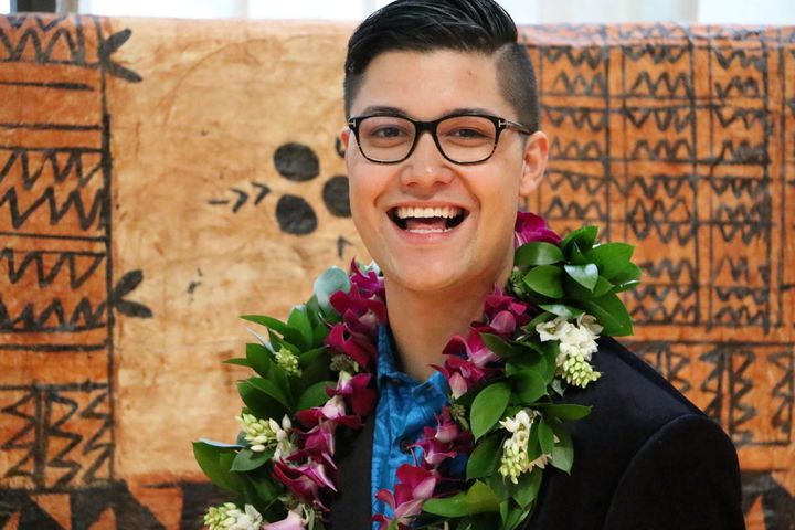 The winner of the Prime Minister's Pacific Youth award for leadership and innovation Josiah Tualamali'i.