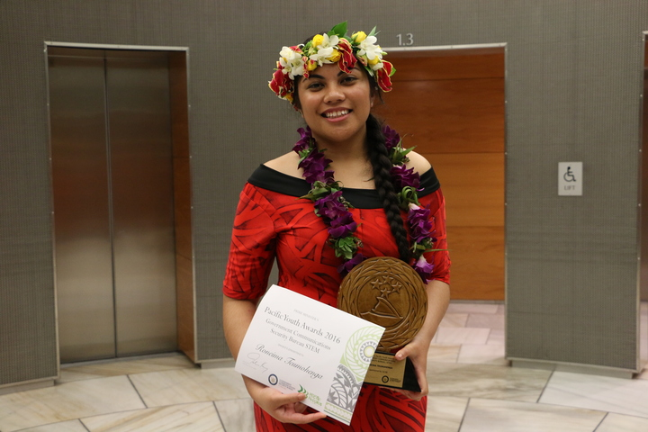 Roneima Teumohenga won the Science, Technology, Engineering and Mathematics (STEM) award at the Prime Minister's Pacific Youth Awards.