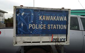 The sign outside Kawakawa police station has seen better days.