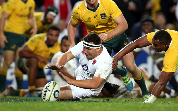 England's Jamie George scores against the Wallabies in 2016 series win