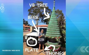 Australian man builds 4 metre Xmas tree out of 2,500 VB beer cans