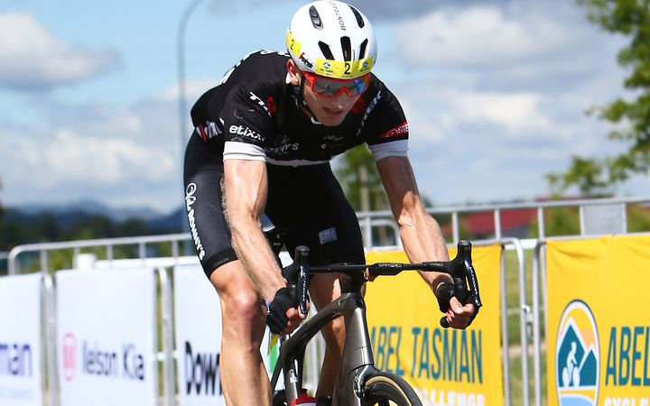 Hamish Bond rides to victory in the inaugural Abel Tasman Cycle Challenge.