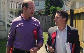 Labour candidate Michael Wood (right) on the campaign trail with leader Andrew Little.
