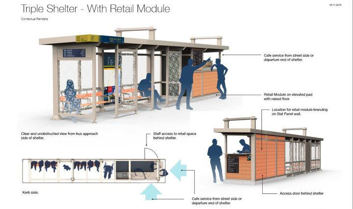 The Dunedin bus hub plan with a retail of coffee shelter.