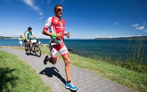 New Zealand triathlete Terenzo Bozzone during the 2016 Ironman New Zealand