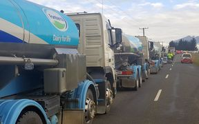 Fonterra milk tankers prepare to roll along Kaikōura's only access road.