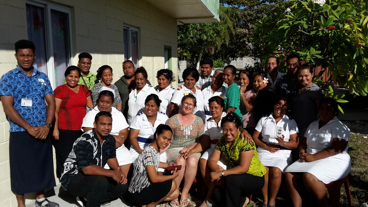 Dr Sharron Bolitho (center) with participants of the Pacific Emergency Maternal and Neonatal Training (PEMNet) in Kiribati. November 2016