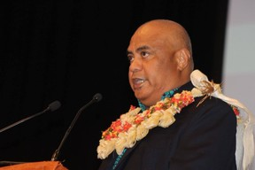 Executive director of the Western and Central Pacific Fisheries Commission Feleti Te'o at the opening of its annual meeting in Fiji, December 2016.