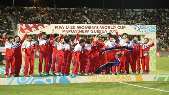 North Korea celebrate winning the FIFA Under 20 Women's World Cup in Port Moresby.