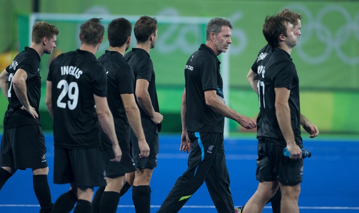 Former Black Sticks men's coach Colin Batch with the team shortly after their Rio Olympics quarter-final loss to Germany