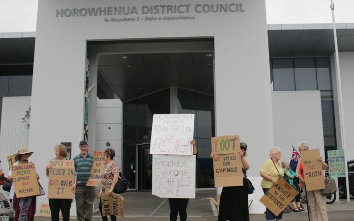 Protesters outside the Horowhenua District Council office in Levin.