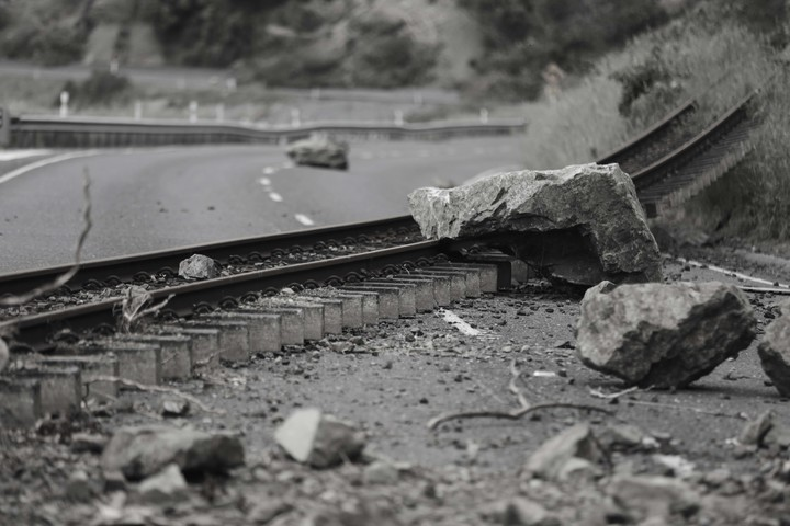 Railway tracks ripped from the line along state highway 1 - north of Kaikoura