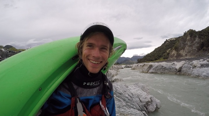 Toby Johnstone kayaks the new Clarence River rapid in Kaikoura.