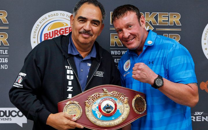 Boxing trainers Abel Sanchez and Kevin Barry.
