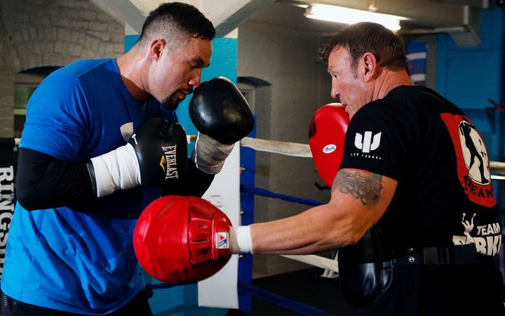 Joseph Parker during a training session with trainer Kevin Barry before his WBO title bout with Andy Ruiz.