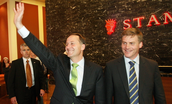 Bill English and John Key after the National Party won the 2008 election.