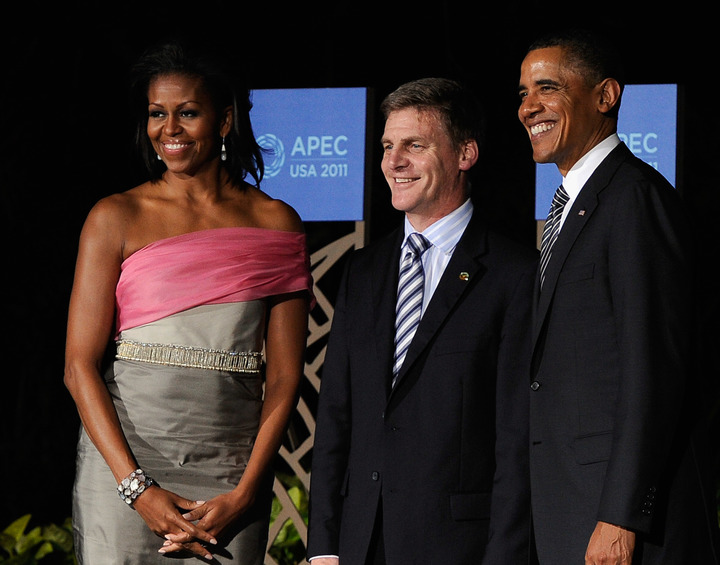 Michelle Obama, Bill English and Barack Obama at the APEC summit dinner on 2011. Photo / Kevork Djansezian/Getty/AFP