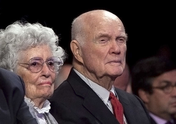 Former astronaut and ex-US Senator John Glenn and wife Annie pictured in New York in September 2012.