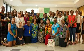 Pacific Women's Sports Leadership Program participants at the Australian High Commission in Papua New Guinea.