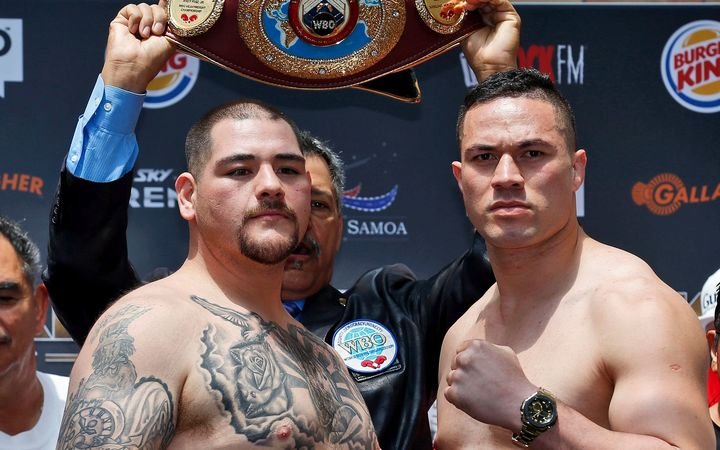 Andy Ruiz Jr, left, and Joseph Parker weigh in before the WBO world boxing heavyweight title fight.