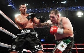 Joseph Parker (left) and Andy Ruiz fight it out for the WBO world heavyweight title.