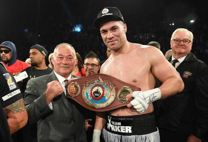 New Zealand heavyweight boxer Joseph Parker with his Dad, Dempsey after defeating Andy Ruiz Jr for the WBO World Heavyweight Title