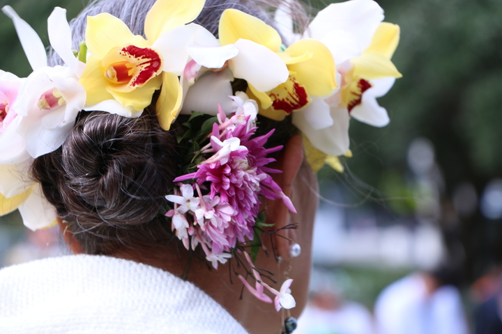 A Cook Islands woman at a commemoration at New Zealand's Parliament for Cook Island soldiers who served in the First World War. 2016