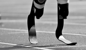 The blades of a Paralympic runner
