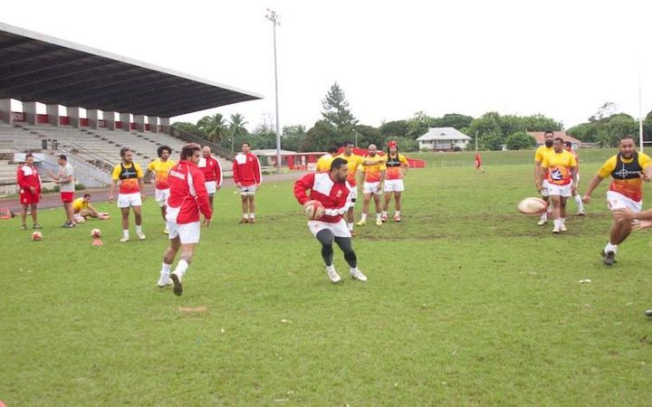 The Tongan team training at Nuku'alofa's Teufaiva stadium
