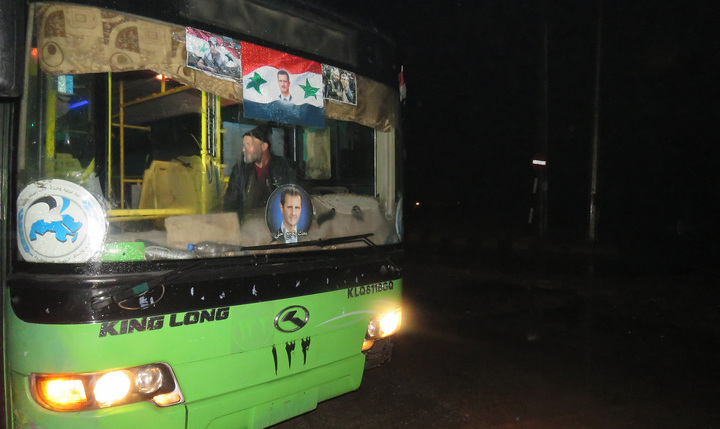 A bus which will be used to evacuate civilians leaving from rebel-held areas of Aleppo is seen on 13 December, 2016.