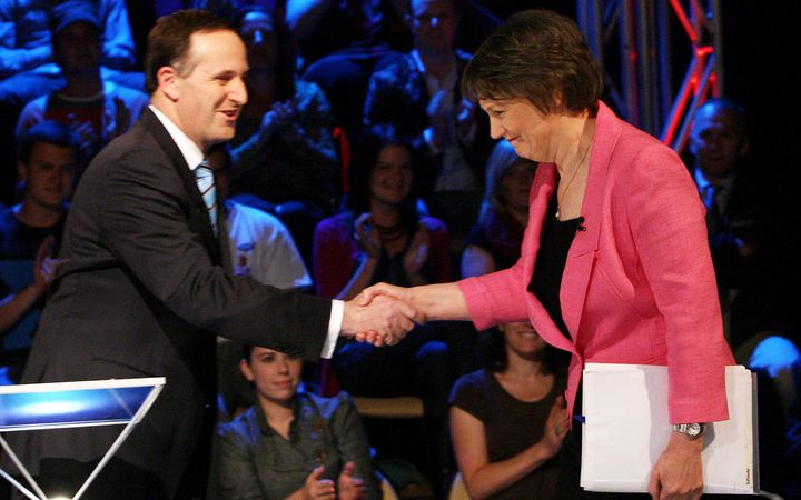 Then Prime Minister Helen Clark shakes hands with then opposition National Party leader John Key during their last televised election debate, in Auckland in 2008.
