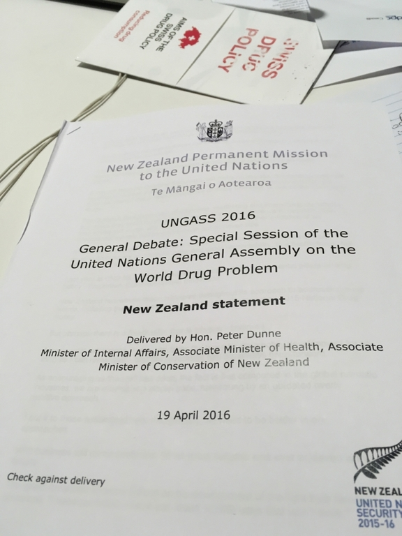 A close up view of a printed copy of New Zealand's statement at UNGASS 2016.