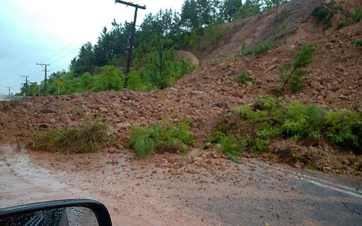 Landslide in Veisari which is currently blocking Queens Highway.