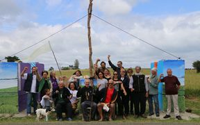 Protesters at Ihumātao, who have been occupying the roadside there for about a month.