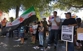Dozens of people turned out in Auckland today to support peace efforts in Syria.