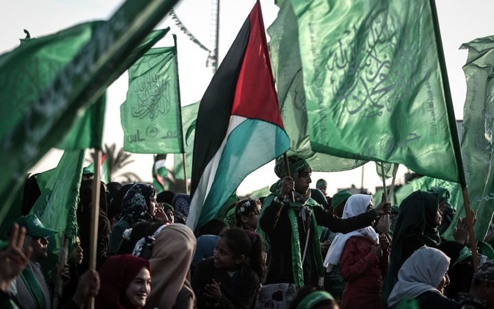 Thousands of people gathered to celebrate the 29th anniversary of the foundation of Hamas, in Rafah, Gaza, on Friday, December 16 2017.