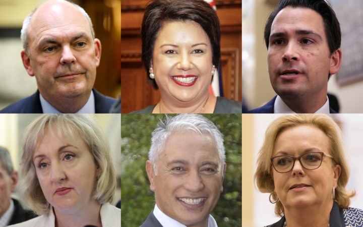 Clockwise from top left: Steven Joyce, Paula Bennett, Simon Bridges, Judith Collins, Alfred Ngaro, Amy Adams