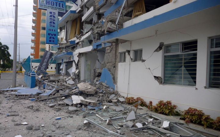 Houses and hotels in Esmeraldas province were damaged by the earthquake.